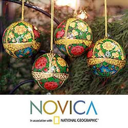 Set Of 4 Paper Mache 'Holiday Joy' Ornaments (India)