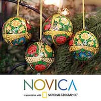Handmade Set Of 4 Paper Mache 'Holiday Joy' Ornaments (India)
