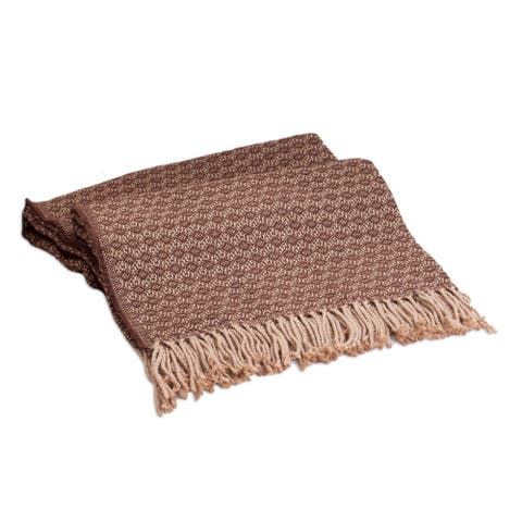 Handmade Cocoa and Cream Alpaca Blend Throw (Peru)