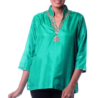 Handmade Women's Silk 'Royal Touch' Embroidered Tunic (India) (4 options available)