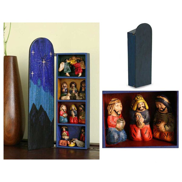 Blue Nativity Christian Themed Handmade Multicolored Artisan Signed Religous Art Work Wood and Ceramic Retablo (Peru)