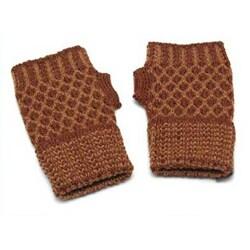 Alpaca Wool 'Cinnamon Honeycomb' Fingerless Gloves (Peru)