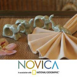 Set Of 6 Celadon Ceramic 'Elephant Hello' Napkin Rings (Thailand)