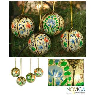 Set of 4 'Holiday Galaxy' Ornaments , Handmade in India