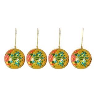 Handmade Set Of 4 'Sunlight Joy' Holiday Ornaments (India)