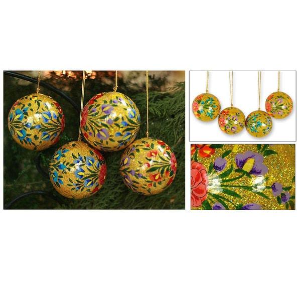 Handmade Set Of 4 'Sunlight Joy' Holiday Ornaments (India)