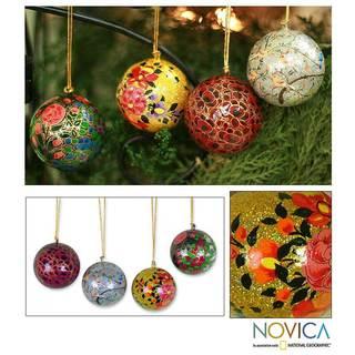 Set Of 4 'Joyful Symphony' Holiday Ornaments , Handmade in India