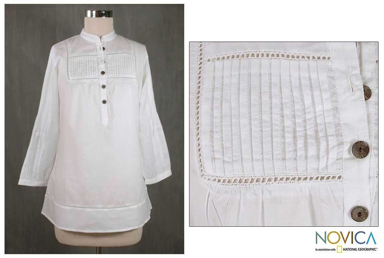 Cotton 'Summer Sonnet' Tunic Blouse (India)