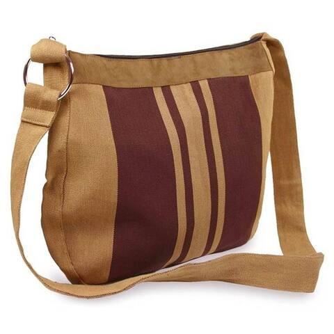 Handmade Cotton and Leather 'Half Moon' Shoulder Bag (Guatemala)