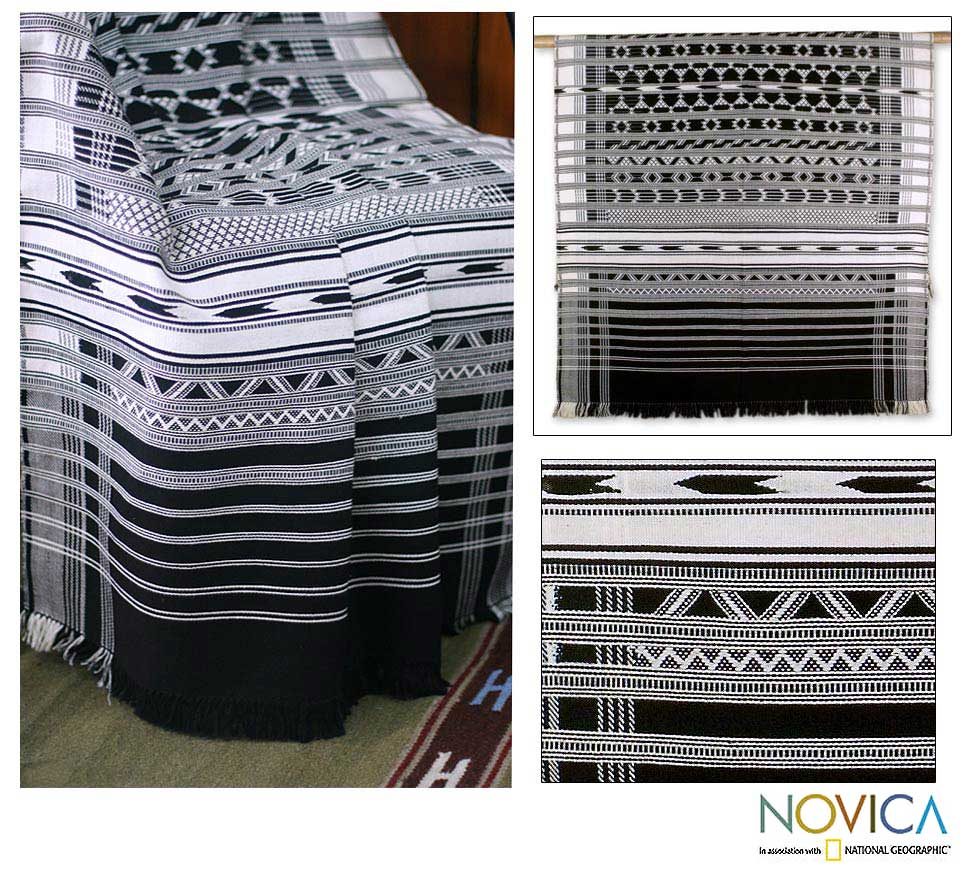 Handmade 'Monochrome Symmetry' Cotton Throw (India)