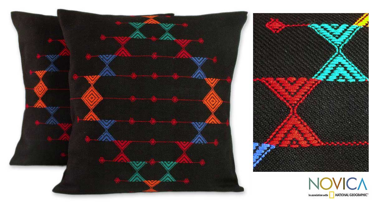Set of Two 'Festival Galaxy' Cotton Cushion Covers (India)