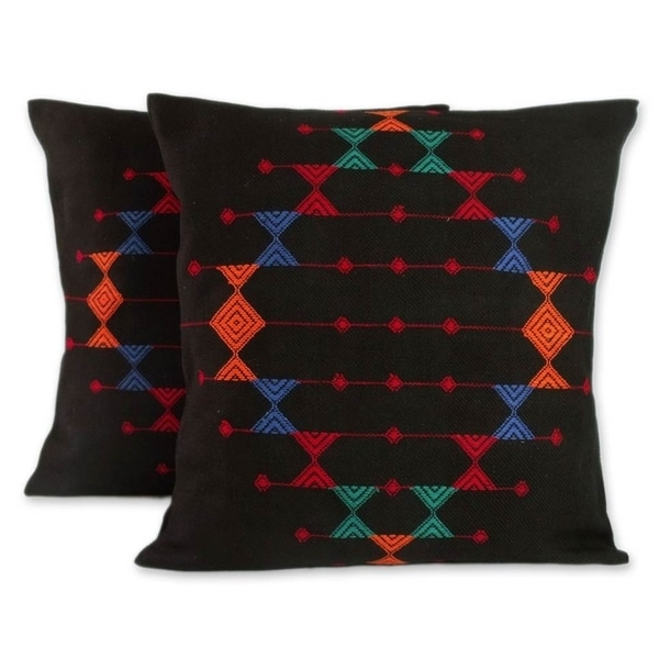 Handmade Festival Galaxy Cotton Set of Two Cushion Covers (India)