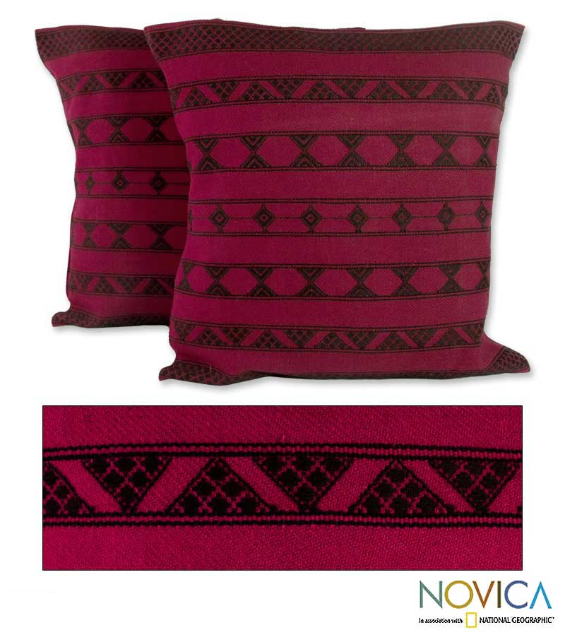 Set of Two Cotton 'Desert Wine' Cushion Covers (India) - Thumbnail 0