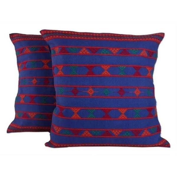 Handmade Set of Two Cotton Desert Sapphire Cushion Covers (India)