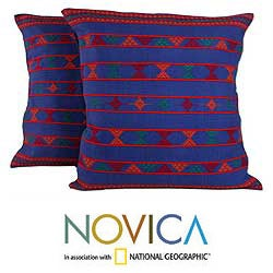 Set of Two Cotton 'Desert Sapphire' Cushion Covers (India)