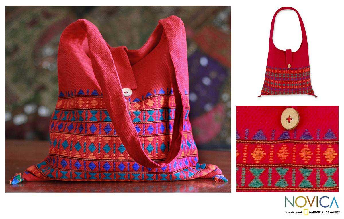 Cotton 'Crimson Tease' Shoulder Bag (India)