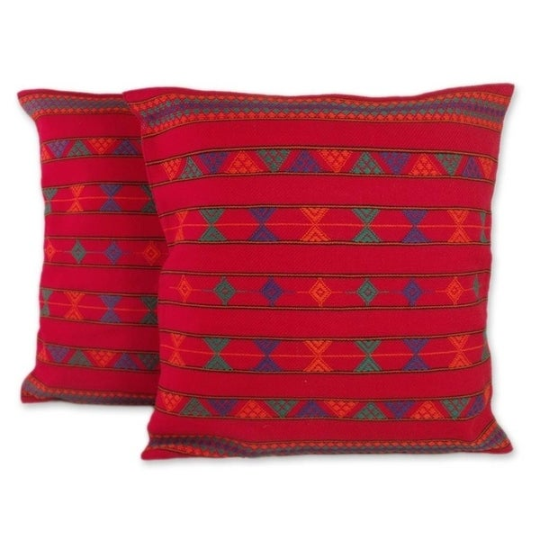 Handmade Desert Ruby Cotton Cushion Set of Two Covers (India)