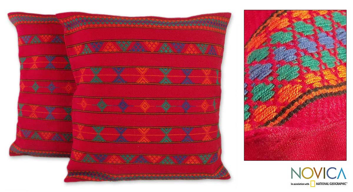 Handmade Set of Two 'Desert Ruby' Cotton Cushion Covers (India)