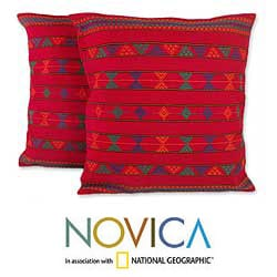 Set of Two 'Desert Ruby' Cotton Cushion Covers (India)