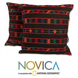 Handmade Set of Two Cotton 'Desert Night' Cushion Covers (India)