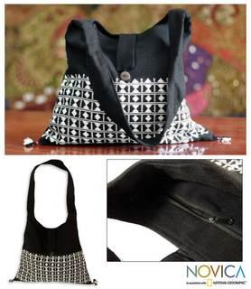 Handmade Cotton 'Diamond Light' Sling Tote Bag (India)