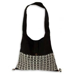 Handmade Cotton 'Diamond Light' Sling Tote Bag (India)