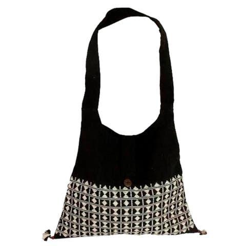 NOVICA Handmade Cotton 'Diamond Light' Sling Tote Bag (India)