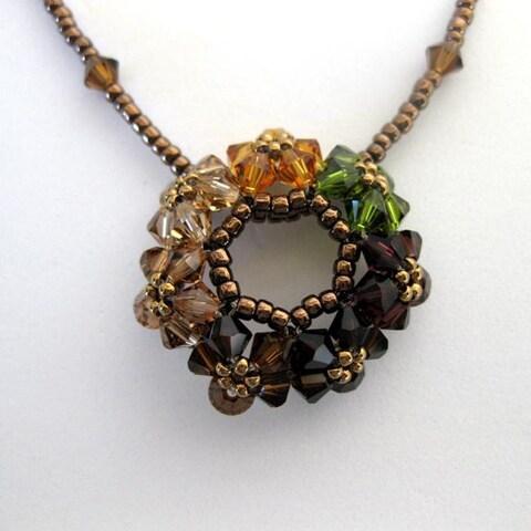 Handmade 'Circle of Joy' Autumn Crystal Necklace (USA)