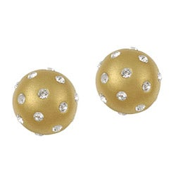 La Preciosa Sterling Silver Gold Enamel and Embedded Crystal Stud Earrings
