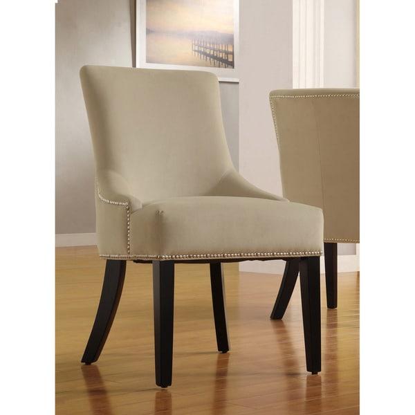 INSPIRE Q Westmont Sandstone Beige Velvet Decorative Chairs (Set of 2)