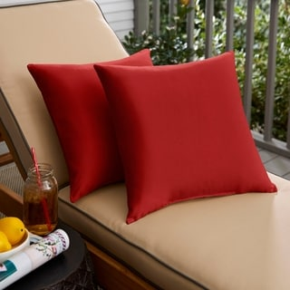 Jockey Red 18 Inch Knife Edged Outdoor Pillows With Sunbrella Fabric (Set Of