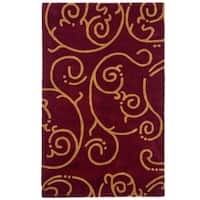 Hand-tufted Burgundy Archer Wool Rug (5' x 8') - 5' x 8'