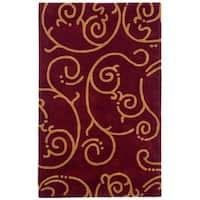 Hand-tufted Burgundy Archer Wool Rug (5' x 8') - 5' x 8'