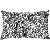 Faux Silk White and Black Circles Decorative Pillow