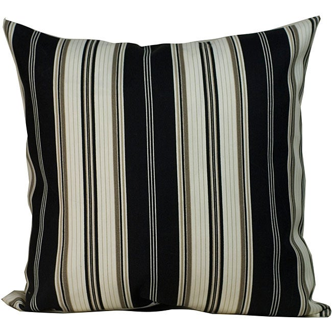 Down the Lane' Black Striped Outdoor Decorative Pillow - Thumbnail 0