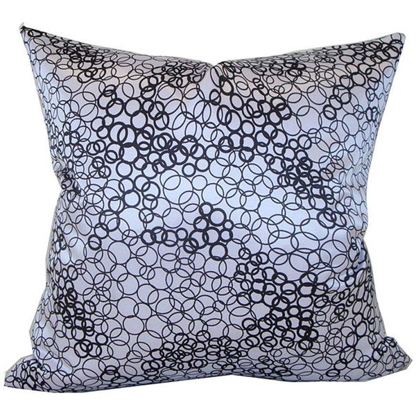 Handmade Faux Silk Black and White Decorative Pillow