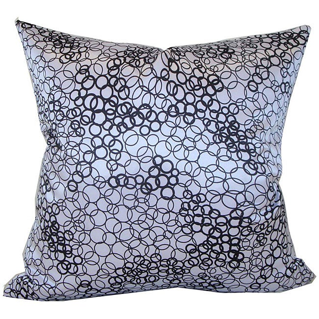 Faux Silk Black and White Decorative Pillow - Thumbnail 0