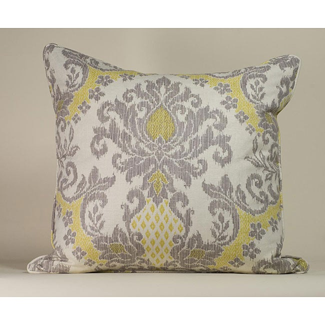 IKAT White/ Yellow Decorative Pillow - Thumbnail 0