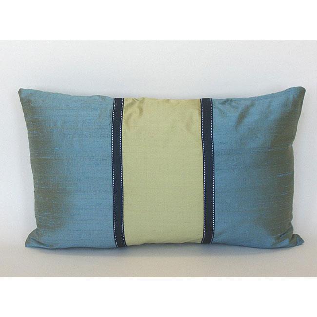 Silk Blue and Green Decorative Pillow