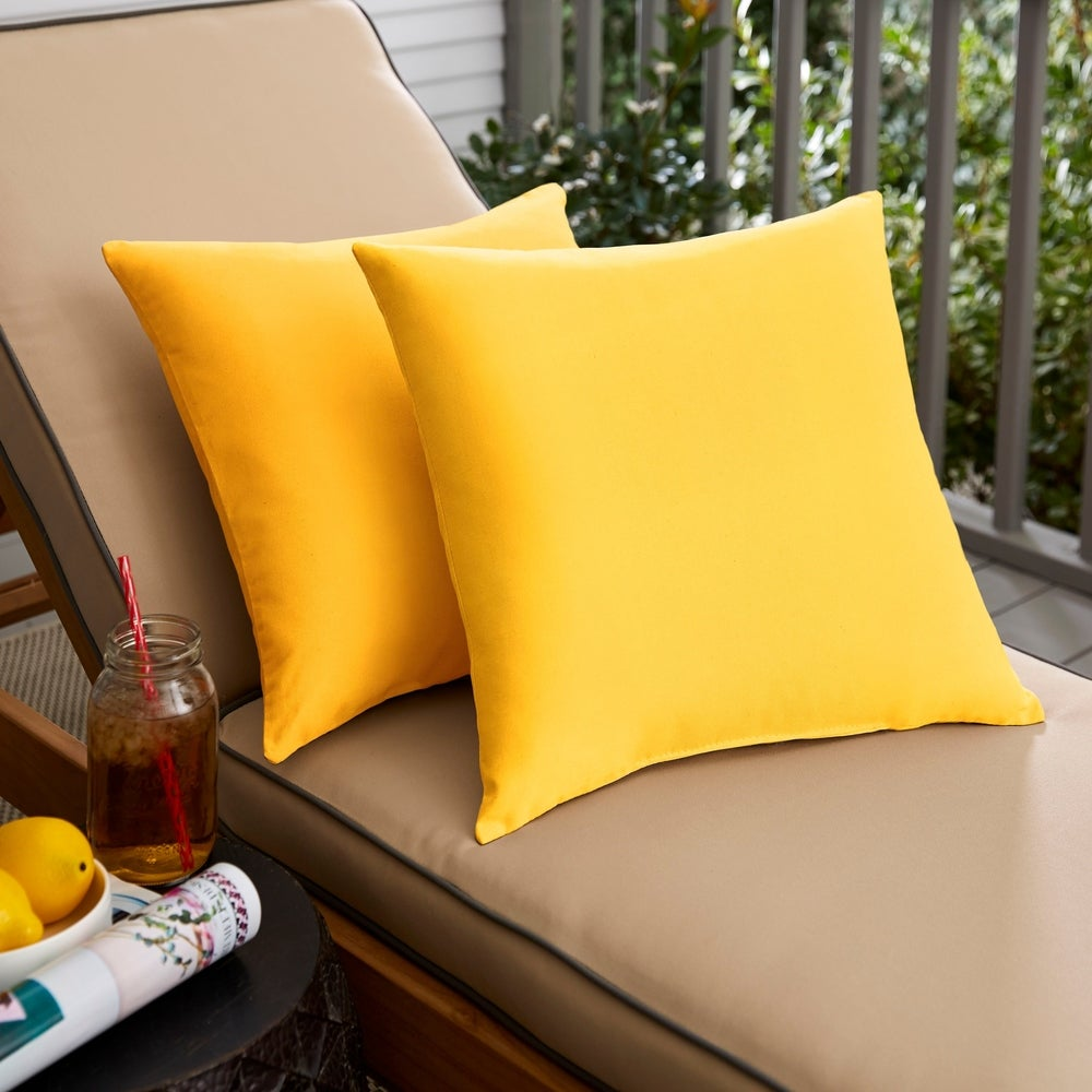 Pillow Perfect Deep Seating Cushion and Back Pillow with Yellow Sunbrella Fabric