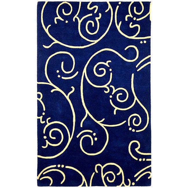 Hand Tufted Blue Archer Wool Rug 5 X 8 Free Shipping