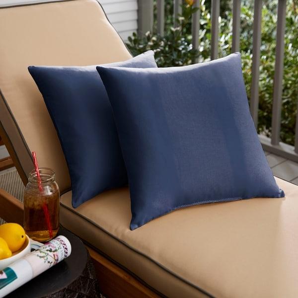Sunbrella Navy Knife-edged Indoor/Outdoor Pillows, Set of 2. Opens flyout.