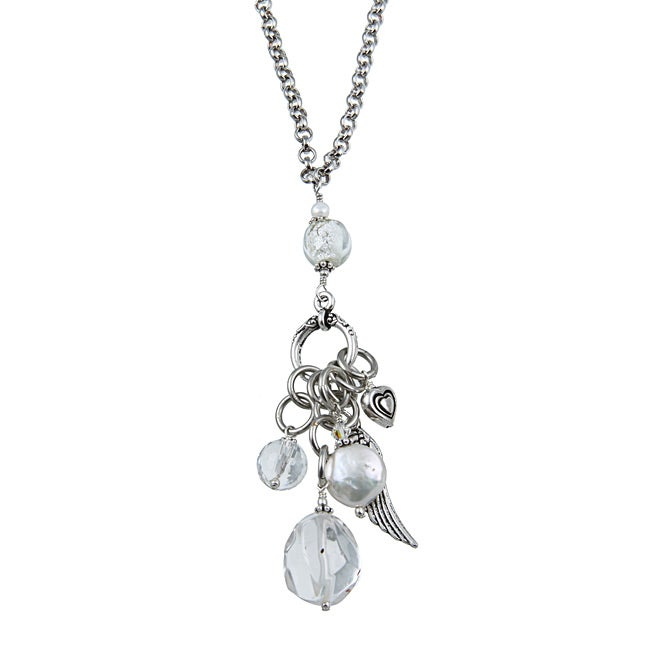 Lola's Jewelry Silvertone Clear Quartz, Freshwater Pearl 'Heart and Angel Wing Charms' Pendant Neckla
