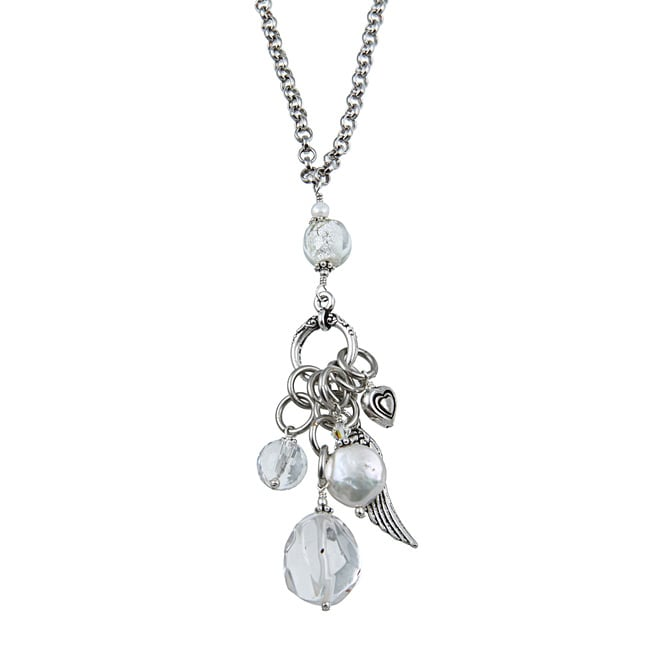 Lola's Jewelry Silvertone Clear Quartz, Freshwater Pearl 'Heart and Angel Wing Charms' Pendant Neckla - Thumbnail 0