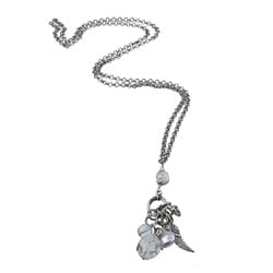 Lola's Jewelry Silvertone Clear Quartz, Freshwater Pearl 'Heart and Angel Wing Charms' Pendant Neckla - Thumbnail 1