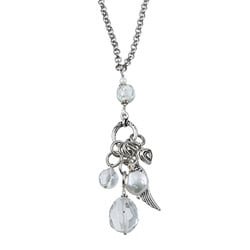 Charming Life Silvertone Clear Quartz, Freshwater Pearl 'Heart and Angel Wing Charms' Pendant Necklace