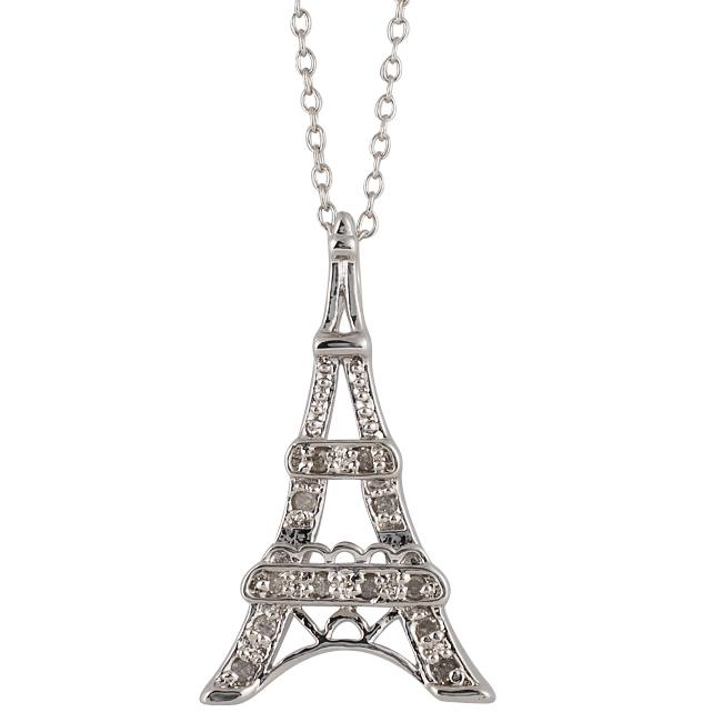 Sterling Silver 1/10ct TDW Diamond Eiffel Tower Necklace