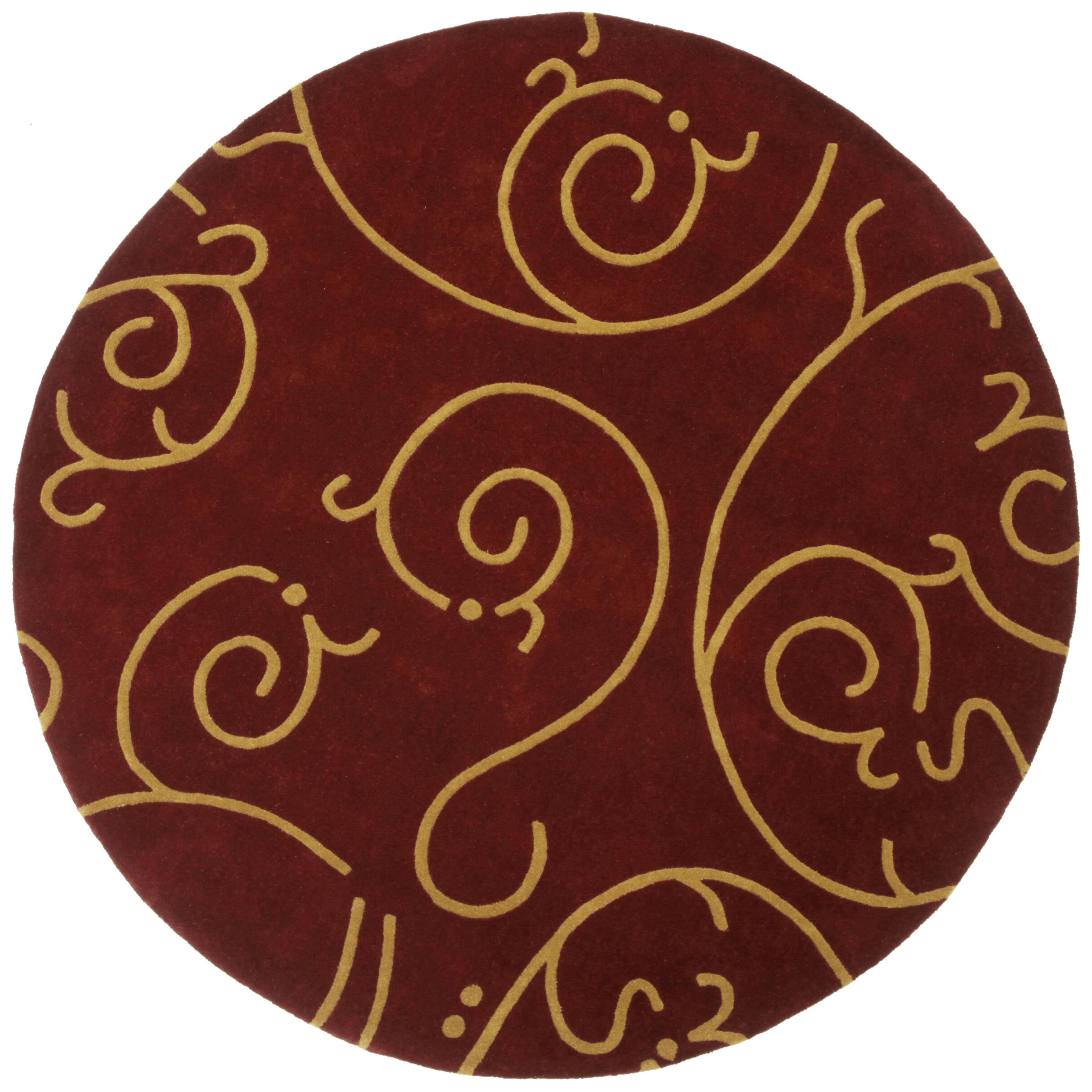 Shop Hand Tufted Burgundy Archer Round Wool Rug 6 X 6