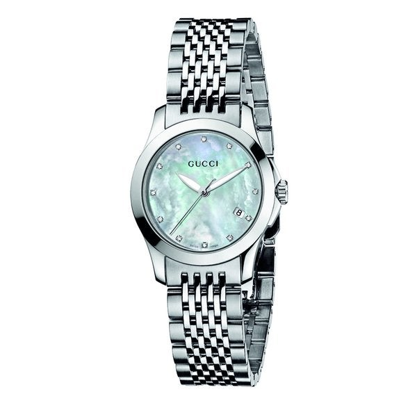 Gucci women 39 s 39 timeless 39 stainless steel mother of pearl for Overstock free returns