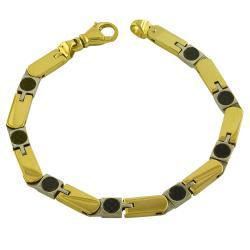 Fremada 14k Two-tone Gold Carbonite and Bar Link Bracelet